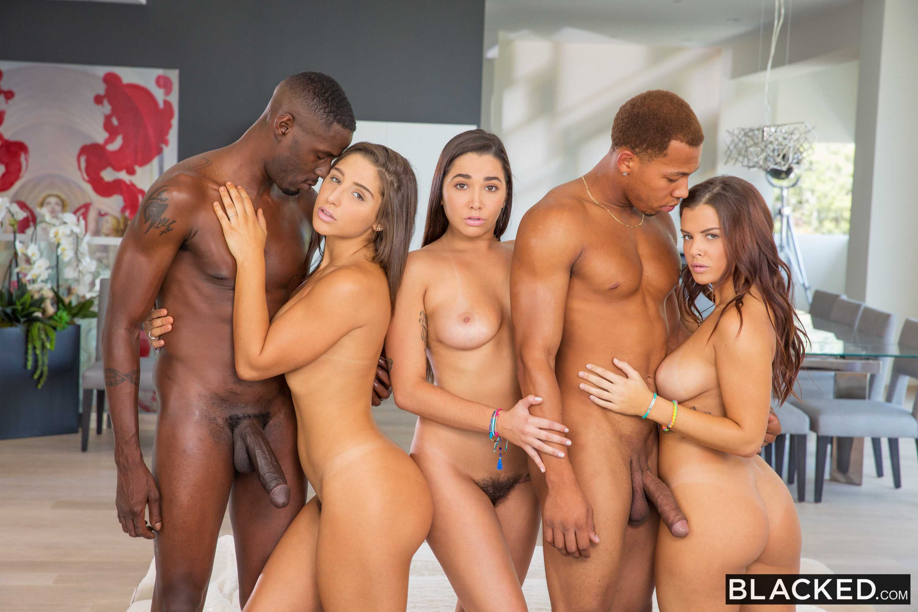 Blacked abella karlee and keisha stretched out by two bbc039s